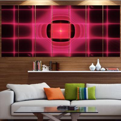 Designart Pink Thermal Infrared Visor Abstract Canvas Art Print - 5 Panels