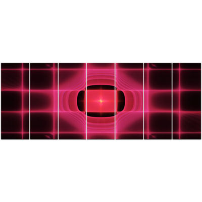 Designart Pink Thermal Infrared Visor Abstract Canvas Art Print - 7 Panels