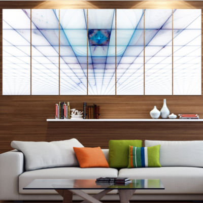 Designart Light Blue Laser Protective Grids Abstract Canvas Art Print - 7 Panels
