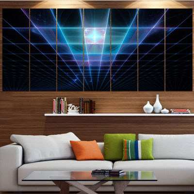 Designart Blue Laser Protective Grids Abstract Canvas Art Print - 7 Panels