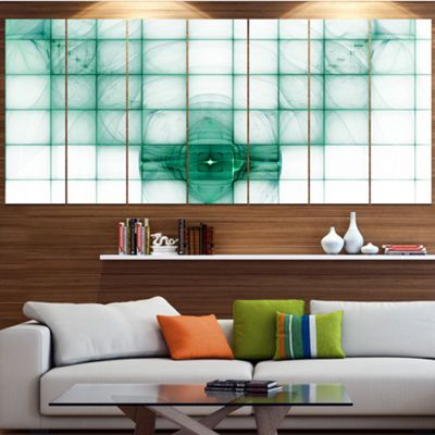 Designart Light Blue Bat On Radar Screen AbstractCanvas Art Print - 6 Panels