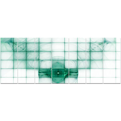 Designart Light Blue Bat On Radar Screen AbstractCanvas Art Print - 7 Panels