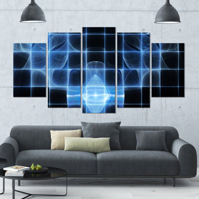 Designart Bright Blue Bat On Radar Screen Contemporary Canvas Art Print - 5 Panels
