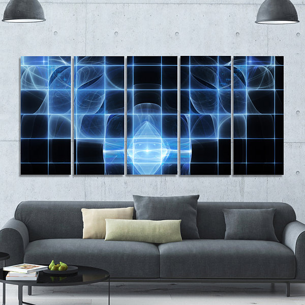 Design Art Bright Blue Bat On Radar Screen Abstract Canvas Art Print - 5 Panels