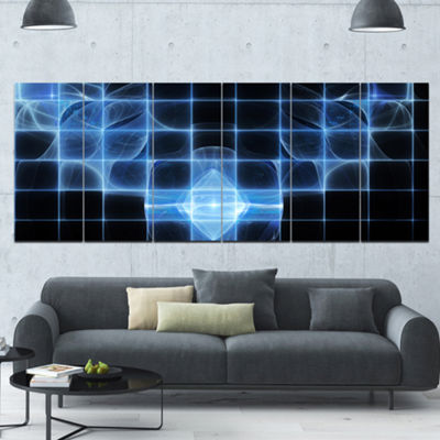 Designart Bright Blue Bat On Radar Screen AbstractCanvas Art Print - 6 Panels