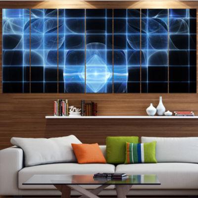 Design Art Bright Blue Bat On Radar Screen Abstract Canvas Art Print - 7 Panels