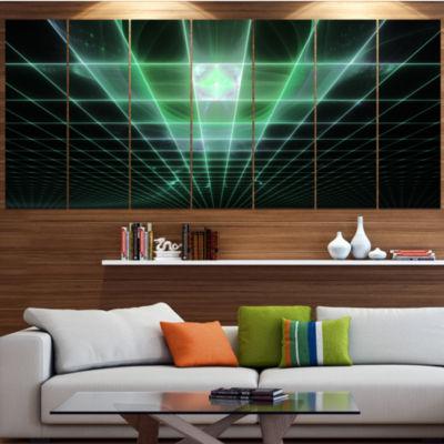 Light Green Bat On Radar Screen Abstract Canvas Art Print - 4 Panels