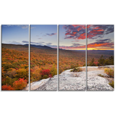 Endless Forests In Fall Foliage Landscape Canvas Art Print - 4 Panels