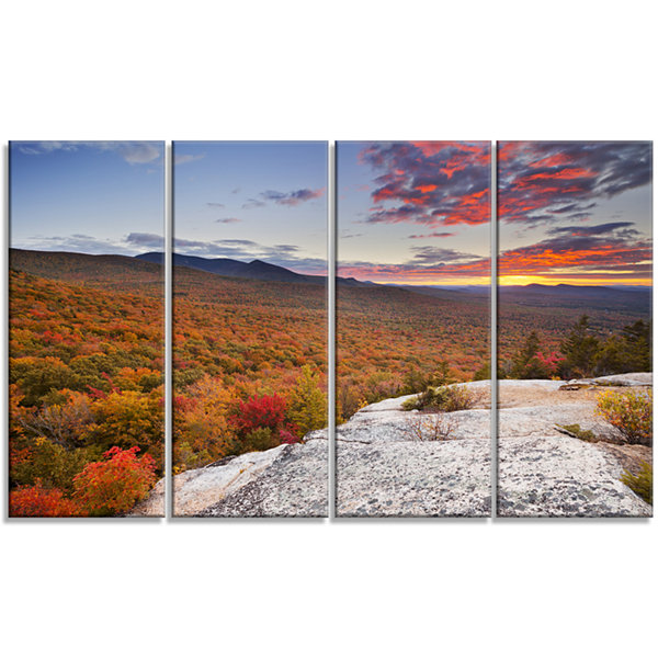 Designart Endless Forests In Fall Foliage Landscape Canvas Art Print - 4 Panels