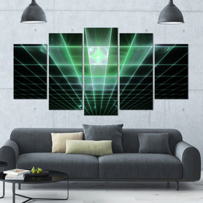 Designart Light Green Bat On Radar Screen Contemporary Canvas Art Print - 5 Panels