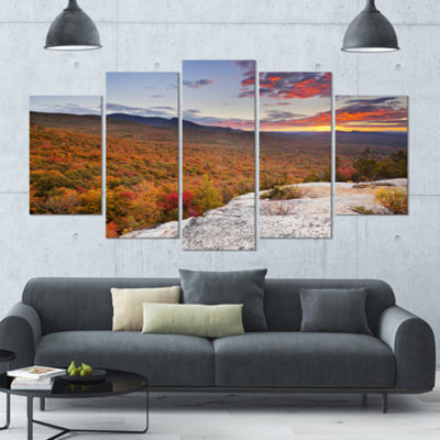 Designart Endless Forests In Fall Foliage Landscape Large Canvas Art Print - 5 Panels