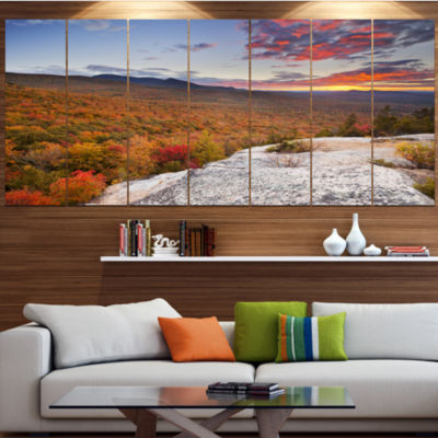 Design Art Endless Forests In Fall Foliage Landscape Large Canvas Art Print - 5 Panels