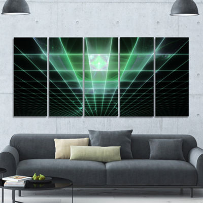 Designart Light Green Bat On Radar Screen AbstractCanvas Art Print - 5 Panels