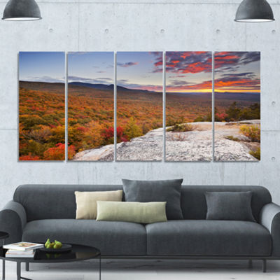 Designart Endless Forests In Fall Foliage Landscape Canvas Art Print - 5 Panels