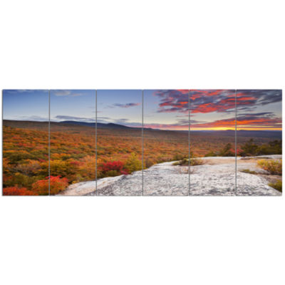 Endless Forests In Fall Foliage Landscape Canvas Art Print - 6 Panels