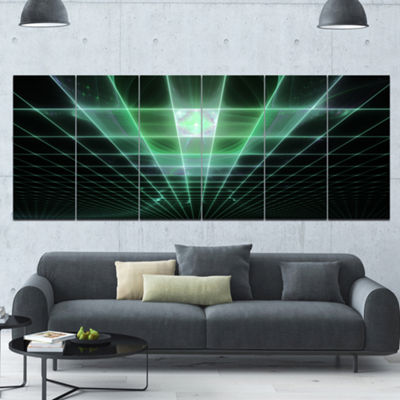Designart Light Green Bat On Radar Screen AbstractCanvas Art Print - 6 Panels