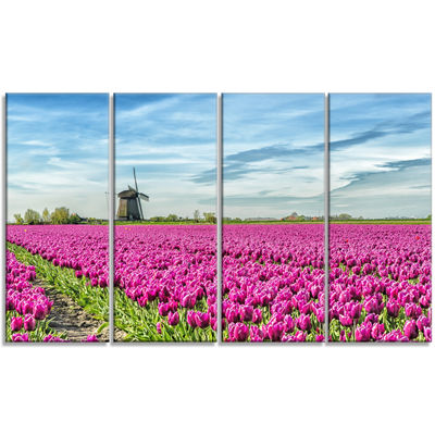 Designart Traditional Holland Countryside Landscape Canvas Art Print - 4 Panels