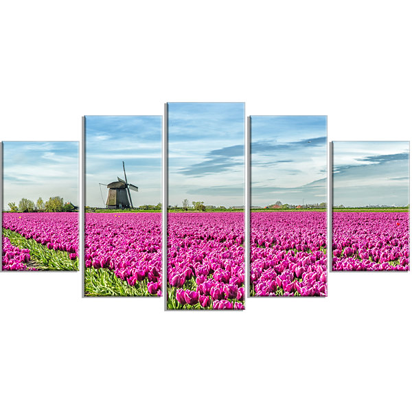 Designart Traditional Holland Countryside Landscape Large Canvas Art Print - 5 Panels