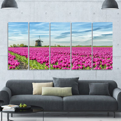 Designart Traditional Holland Countryside Landscape Canvas Art Print - 5 Panels