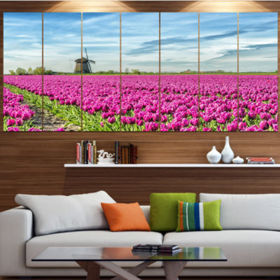 Designart Traditional Holland Countryside Landscape Canvas Art Print - 7 Panels