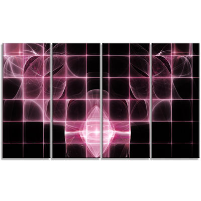 Designart Pink Bat Outline On Radar Abstract Canvas Art Print - 4 Panels
