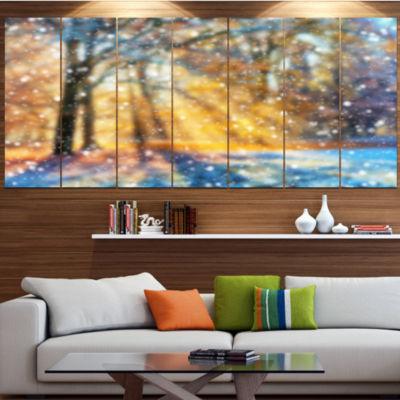 Designart Blur Winter With Snow Flakes LandscapeCanvas Art Print - 5 Panels