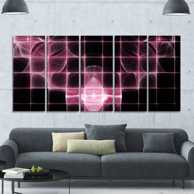 Designart Pink Bat Outline On Radar Abstract Canvas Art Print - 5 Panels