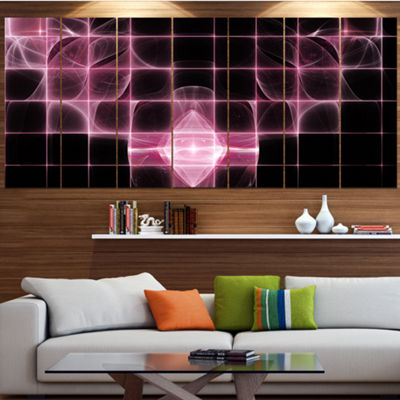 Designart Pink Bat Outline On Radar Abstract Canvas Art Print - 7 Panels