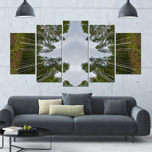 Design Art Circle Composition Of Coniferous TreesLandscape Large Canvas Art Print - 5 Panels