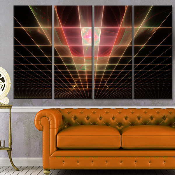 Designart Pink On Black Laser Protective Grids Abstract Canvas Art Print - 4 Panels