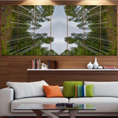 Designart Circle Composition Of Coniferous TreesLandscape Canvas Art Print - 5 Panels