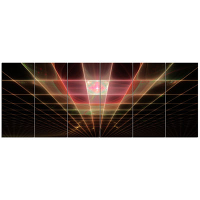 Designart Pink On Black Laser Protective Grids Abstract Canvas Art Print - 6 Panels
