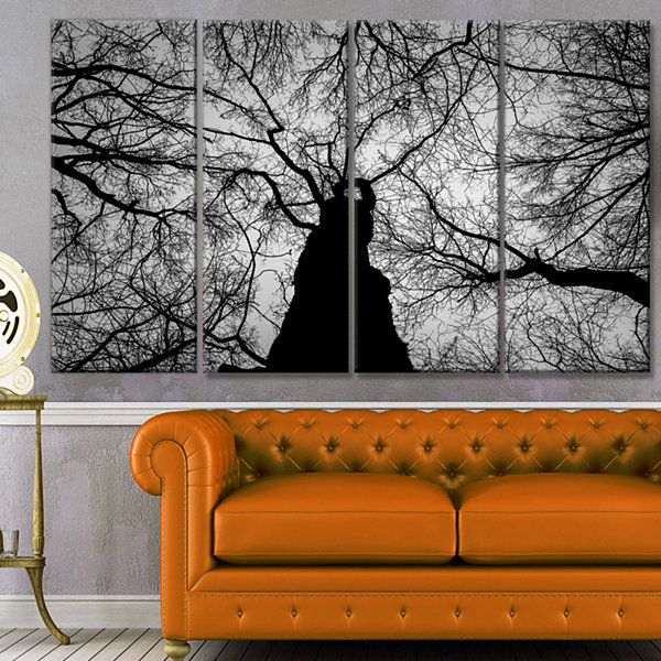 Designart Hoto Of Winter Branches Landscape CanvasArt Print- 4 Panels