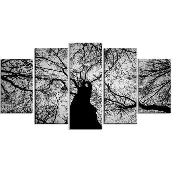 Designart Hoto Of Winter Branches Landscape LargeCanvas Art Print - 5 Panels