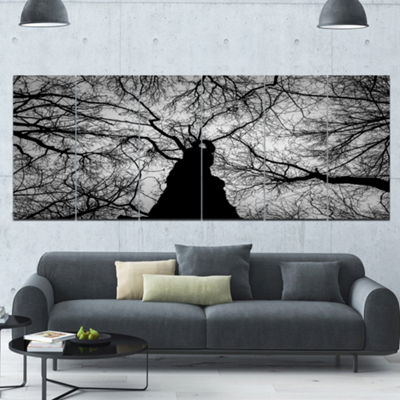 Designart Hoto Of Winter Branches Landscape CanvasArt Print- 6 Panels