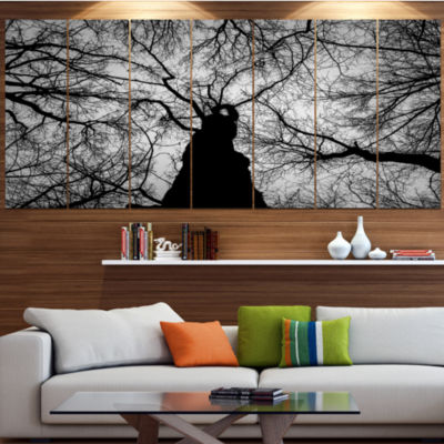 Designart Hoto Of Winter Branches Landscape CanvasArt Print- 7 Panels