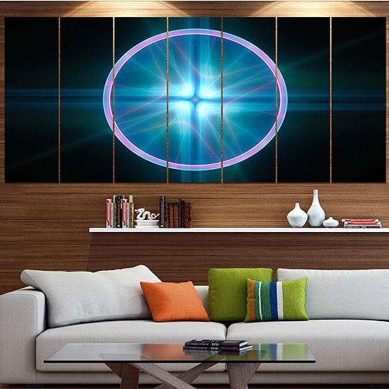 Designart Blue Sphere Of Cosmic Mind Abstract Canvas Art Print - 5 Panels