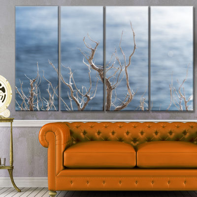 Leafless Winter Branches Landscape Canvas Art Print - 4 Panels