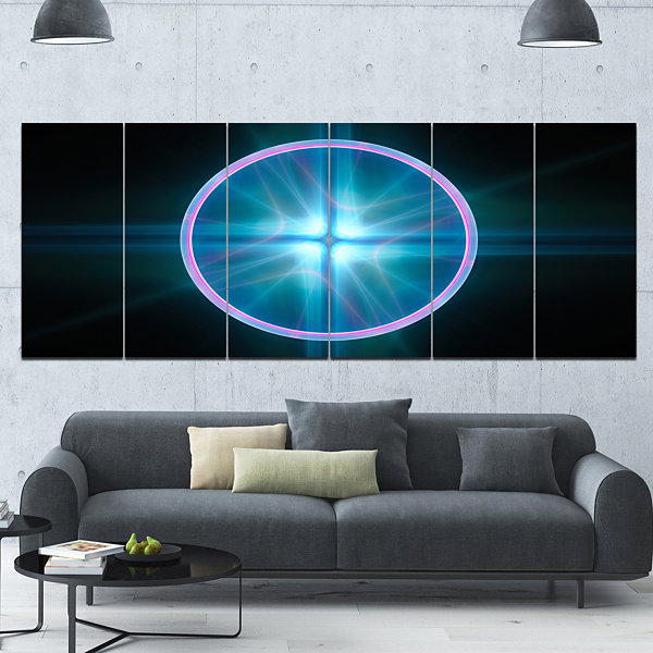 Designart Blue Sphere Of Cosmic Mind Abstract Canvas Art Print - 6 Panels