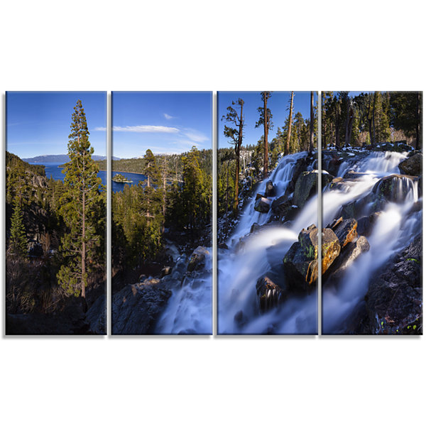 Designart Eagle Falls Emerald Bay Lake Tahoe Landscape Canvas Art Print - 4 Panels