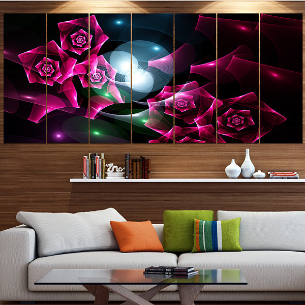 Designart Pink Bouquet Of Beautiful Roses AbstractCanvas Art Print - 4 Panels
