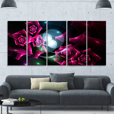 Designart Pink Bouquet Of Beautiful Roses AbstractCanvas Art Print - 5 Panels