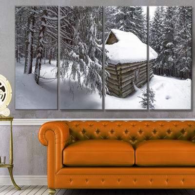 Designart House In Magic Winter Forest LandscapeCanvas Art Print - 4 Panels