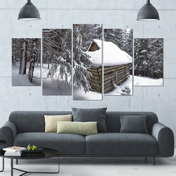 Designart House In Magic Winter Forest LandscapeLarge Canvas Art Print - 5 Panels