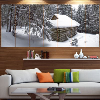 Designart House In Magic Winter Forest LandscapeCanvas Art Print - 5 Panels