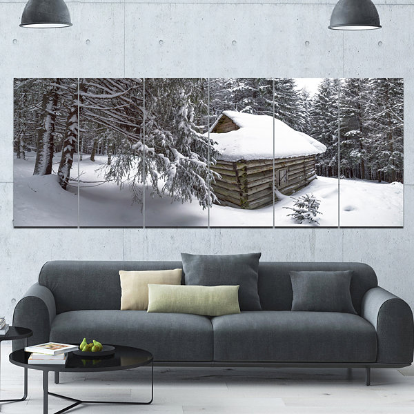 Design Art House In Magic Winter Forest LandscapeCanvas Art Print - 6 Panels