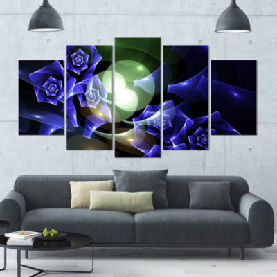 Blue Bouquet Of Beautiful Roses Contemporary Canvas Art Print - 5 Panels