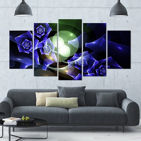 Designart Blue Bouquet Of Beautiful Roses Contemporary Canvas Art Print - 5 Panels