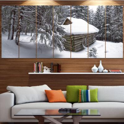 Design Art House In Magic Winter Forest LandscapeCanvas Art Print - 7 Panels
