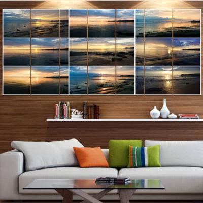 Designart Sea Sunset Collage Landscape Canvas ArtPrint - 4Panels
